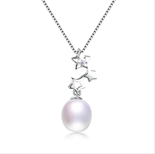 ZHUDJ Colgante de circonita de Estrella de Plata de Ley 925, joyería Fina para Mujer, Collar de Perlas ovaladas de Agua Dulce 100% Natural Genuino,Blanco