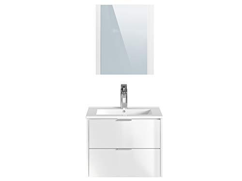 Marchio Amazon -Movian Cher - Mobile lavabo con specchio e lavandino, 61 x 46,5 x 49 cm, colore bianco