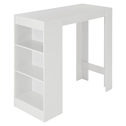 ML-Design Mesa de Bar con 3 Estantes, 110x50x103 cm, Blanco, de Aglomerado Revestido de Melamina, Diseño Moderno, Mesa de Restaurante Bistro, Mostrador Mueble para Cocina y Sala de Estar