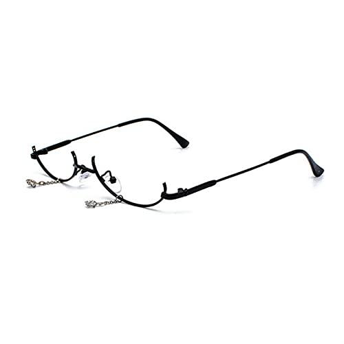 Gafas de lectura populares vintage inferior mitad marco sin lentes para mujer, marco colgante de gota de agua, marco decorativo para gafas vacías (color: negro, tamaño: +300)