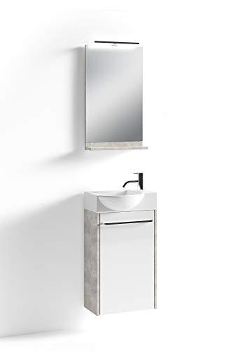 HOMEXPERTS Bad-Set SHINE / Unterschrank inkl. Waschbecken + beleuchtetem Spiegel / Farbe: Front Hochglanz weiß, Korpus graue Beton-Optik / Badezimmer / Gäste-Bad / 41 x 128 x 25 cm (B x H x T)
