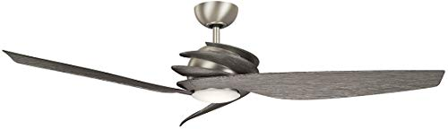 Kichler 300700NI7 Spyra 62' Ceiling Fan with LED Light and Wall Control, Brushed Nickel