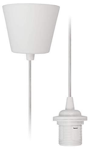 McShine 1452332 lampophanging snoerpendel E27 fitting, 230 V, 1,2 m kabel   ideaal voor renovatie   vrij te kiezen lampenkap (textielkabel), 230 V