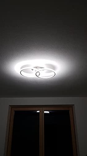 AUA Plafón LED, lámpara de techo moderna de 22 W, plafón LED techo doble anillo, plafón de acrílico blanco para dormitorio, salón, estudio, oficina