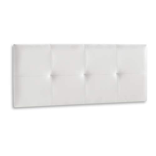DISTRIGAL, S.L. Cabecero Cama Matrimonio tapizado en símil Piel Color Blanco, Cabezal Modelo Deva, Medidas: 114,5 cm (Largo) x 49,5 cm (Alto) x 3,5 cm (Fondo)