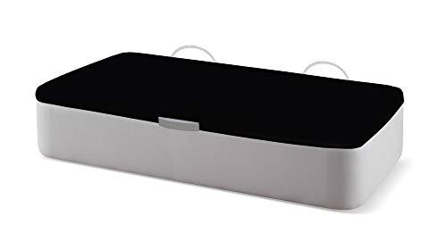 Naturconfort Canapé Abatible Ecopel Plata Brillo Premium Tapizado Apertura Lateral Tapa 3D Negra 80x180cm Envio y Montaje Gratis