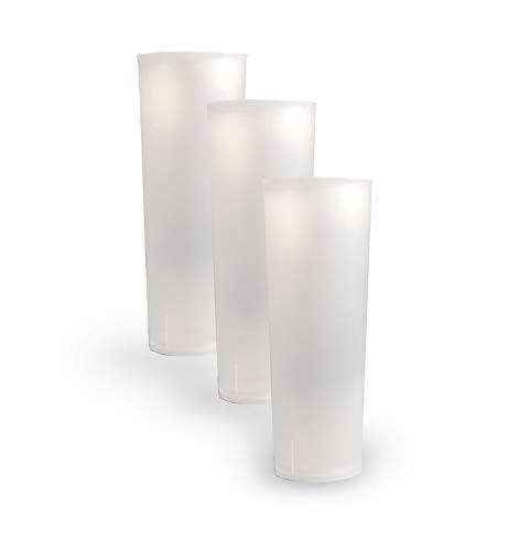 Vaso Tubo Plástico Reutilizable. Cantidad 50 Unids/Bolsa 10. Cap. 330ml. Vasos de plástico para cumpleaños, Fiestas, etc.- Reutilizables