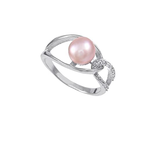 Anillo de plata de ley 925   Anillo de plata de ley 925 de calidad AAA, con perlas de agua dulce y rosa natural, anillo de perlas, anillo de compromiso, anillo astrológico, tamaño del anillo 7.25 US