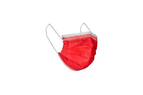 MASCHERINE VENETE 100 mascarillas quirúrgicas empaquetadas en 10 paquetes de 10 mascarillas (Rojo)