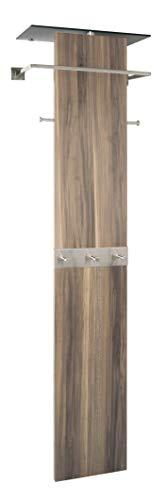 HAKU Möbel 42629 Wandgarderobe 54 x 35 x 192 cm, edelstahloptik/nußbaum
