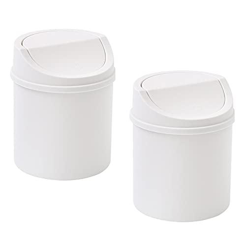 Jadin mini cubo de basura de mesa con tapa, papelera mini coche, 2 piezas mini papelera para oficina en casa, cocina, dormitorio, baño, coche, (blanco)