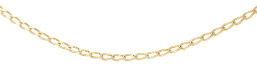 Carissima Gold Unisex 9 ct Yellow Gold 1.1 mm Open Curb Chain Necklace of Length 41 cm/16 Inch