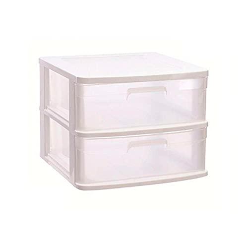 Acan Plastic Forte - Cajonera Sena 2 cajones, plástico Blanco, 40 x 39 x 33,5 cm, Torre de almacenaje, cajones Transparentes, Organizador Auxiliar Multiusos, Almacenamiento, Dormitorio, baño, Oficina