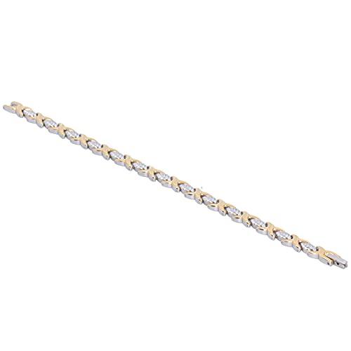 Mxzzand Pulsera de Mujer 8.8in Estilo de Hoja de Plata Pulsera de Acero de Titanio de Moda para Regalos de cumpleaños sin níquel para Festivales