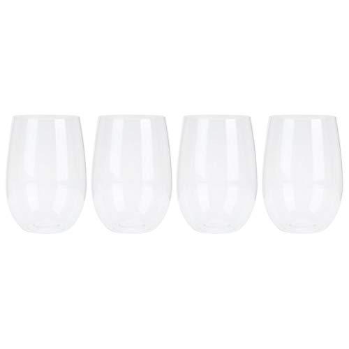 Kuuleyn Copas de Vino Transparentes, 4 unid/Set Copas de Vino de plástico inastillables Copas Irrompible Reutilizable Transparente Jugo de Fruta Taza de Cerveza