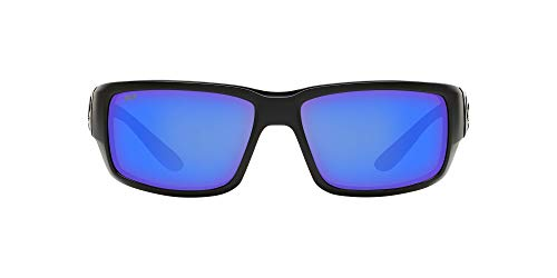 Costa Del Mar Men's Fantail 580P Rectangular Sunglasses, Blackout/Grey Blue Mirrored Polarized-580P, 59 mm