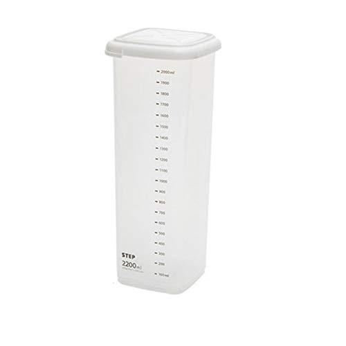 PrittUHU Contenedor de Almacenamiento de Alimentos con Escala de plástico Cocina refrigeradora Caja de Fideos Tanque de Almacenamiento de Alimentos Transparente Sealed Can (Color : 2200ml)