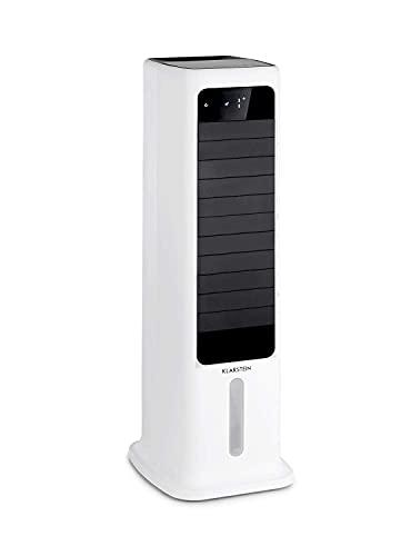 KLARSTEIN Skytower Smart - Raffreddatore Evaporativo, Ventilatore, Depuratore, Umidificatore, Wi-Fi, App-Control, Flusso: 450 m³/h, 60 W, 6 L, 2 x Siberini, Oscillazione Orizzontale, Bianco