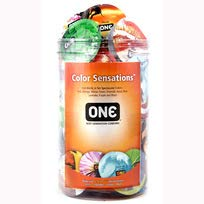 ONE Color Sensations, Premium Lubricated Latex Condoms-100 Count Display Bowl