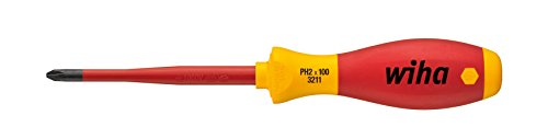 Wiha Schraubendreher SoftFinish® electric slimFix Phillips (35394) PH2 x 100 mm für tiefliegende Schrauben, ergonomischer Griff für kraftvolles Drehen, Allrounder für Elektriker, VDE-geprüft, stückgeprüft