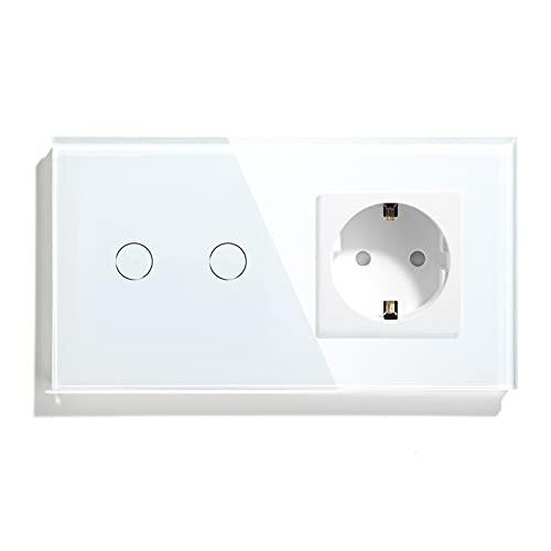 BSEED Interruptor regulador de luz con enchufe 2 Gang 1 Way LED Dimmer Switch,16A a 250V Enchufe de pared,Schuko Enchufe Interruptor de luz con pantalla táctil Blanco (Adaptador Led requerido)