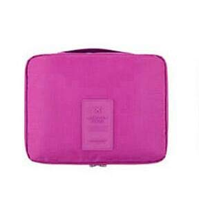 Cremallera Hombre Mujer Bolsa de Maquillaje Nylon Cosmetic Bag Estuche de Belleza Maquillaje Organizador Bolsa de Aseo Kits Almacenamiento Travel Wash Pouch 21 * 16 * 8cm Rose Red