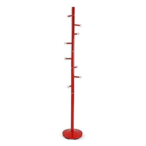Versa Ruan Perchero de Pie de Estilo Minimalista, con 9 Ganchos o Colgadores para Ropa o Bolsos para el Recibidor, Medidas (Al x L x An) 173 x 28 x 28 cm, Metal, Color Rojo
