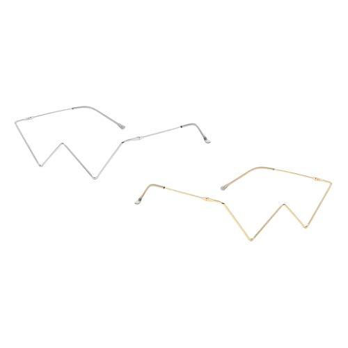 F Fityle 2 Piezas de Gafas de Sol de Lujo para Mujer con Montura Metálica Decorativa Sin Lentes