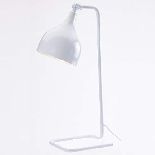 LUSSIOL - Lampe à poser Ready métal - L 15,5 x P20 x H49 cm - E27 40W (Blanc)