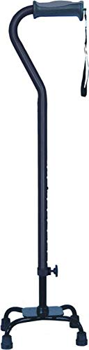 Hugo Adjustable Quad Cane for Right or Left Hand Use, Black, Small Base