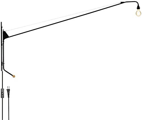 LCJD E27 Lámpara de Pared Industrial Retro con Brazo Largo, Brazo oscilante, Luces de Pared giratorias Ajustables, Pasillo, Escalera, Pasillo, Restaurante, Bar, Dormitorio, Sala de Estar, Hierro,