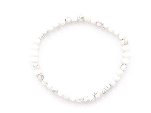 Taddart Minerals – Weiß Graues Armband aus dem natürlichen Edelstein Magnesit mit 4 mm Kugeln auf elastischem Nylonfaden aufgezogen - handgefertigt