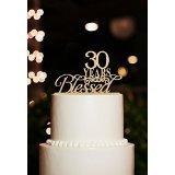 Karen's Cake Toppers Décoration de gâteau 30 ans en bois pour 30e anniversaire