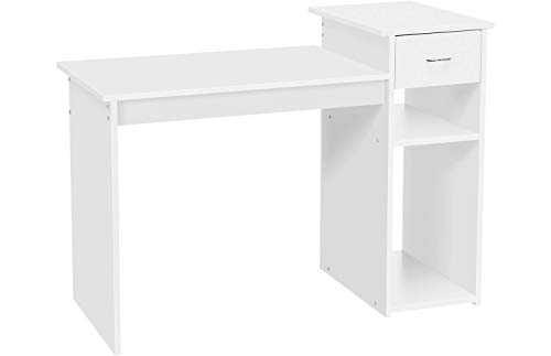 YAHEETECH White Compact Computer Desk Study Writing Table Workstation with Drawer and Shelf for...
