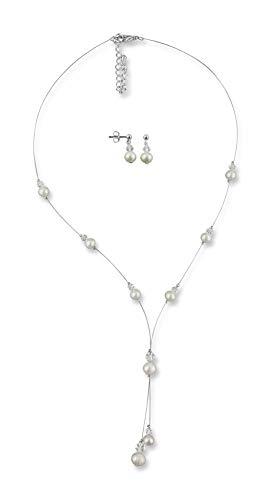 Rivelle Damen Brautschmuck Set Perlenkette Ohrringe Schmuckset echte Süßwasserperlen creme Swarovski kristall Kette Collier Hochzeit Geschenkbox