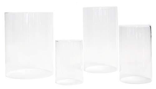 Varia Living Glaszylinder ohne Boden für Windlicht Ersatzglas | für draußen und innen | offenes Glasrohr Groß | Durchmesser 9,5-10 cm, Höhe 15 cm | transparent (Ø 9,5-10 cm/H 15 cm)