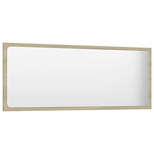 Tidyard Lustro łazienkowe, lustro ścienne, lustro łazienkowe, lustro wiszące, meble łazienkowe, meble łazienkowe, meble łazienkowe z płyty wiórowej i szkła, 100 x 1,5 x 37 cm (szer. x gł. x wys.), dąb Sonoma