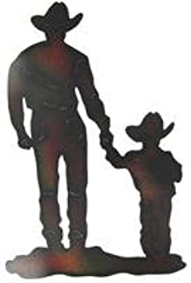 Cowboy with Son Silhouette Metal Wall DecorationNew by: CC