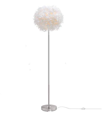 Surpars House Elegant White Feather Floor Lamp with On/Off Switch in Line