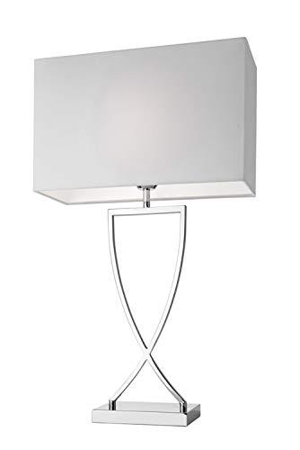 Villeroy&Boch Toulouse Tischleuchte, Metall, E27, 60 W, Silber/Weiß, H 69 cm, Schirm 40 x 16 cm