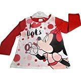 Disney Camiseta Manga Larga Minnie Mouse bebé (24 Meses, Rojo)