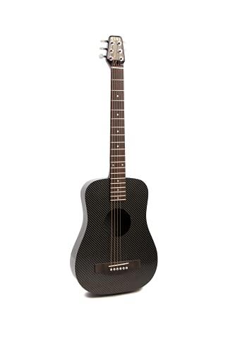 Deluxe KLOS Black Carbon Fiber Travel Acoustic Electric Guitar Kit with Gig Bag,...