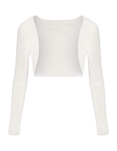 Parabler Damen Bolero Kurze Strickjacke Langarm Cardigan Elegante Jacke Weiß XL