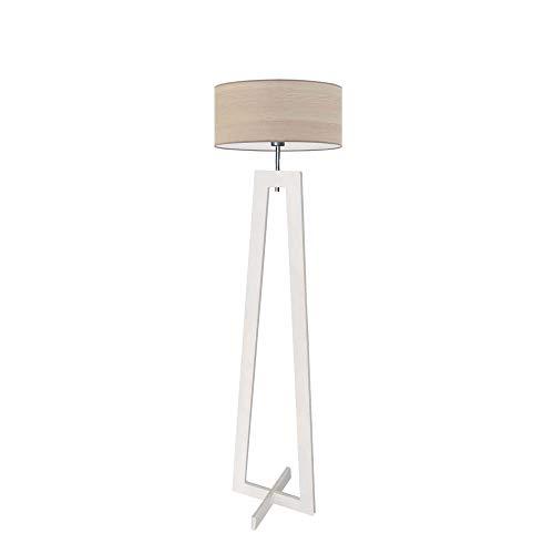 Lámpara de pie Bali Eco con pantalla de roble blanqueado, marco de madera blanca