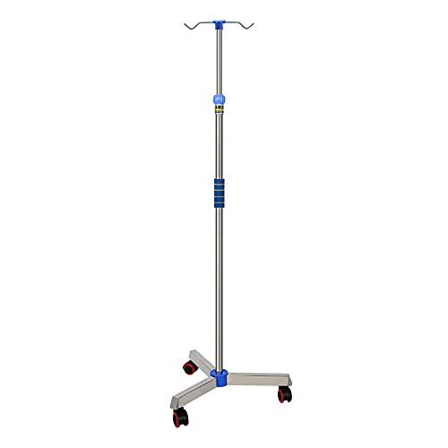 Iv Pole Drip-Stand mit Rad, Edelstahl IV-Taschenhalter mit 2/4 Haken für Krankenhaus-Hausklinik, höhenverstellbarer medizinischer Infusionsstand,2 hooks