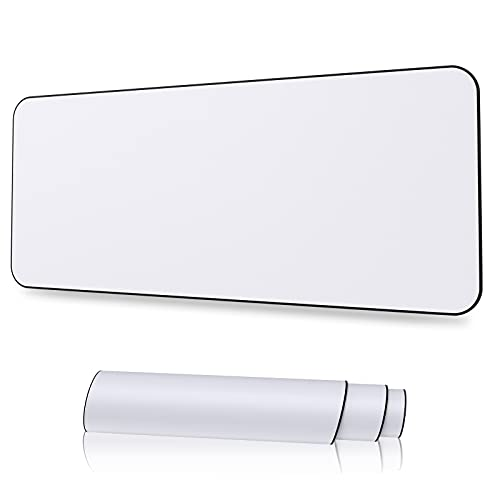 XYK White Gaming Mouse Pad Large Size ( 31.5x11.8x0.12 Inch ) Extended Gamer Mouse Mat with Non-Slip Rubber Base, Special-Textured Surface, Support for Computer, PC and Laptop - White