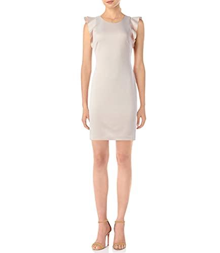 Tommy Hilfiger Women's Flutter Sleeve Scuba Dress, Powder, 2