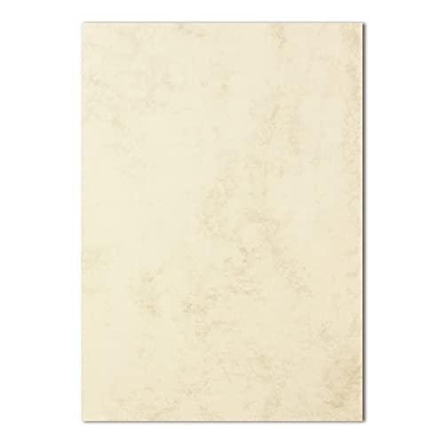 50x DIN A4 Papier - Marmoriert Chamois (Creme) - 90 g/m² - 21 x 29,7 cm - Briefpapier Bastelpapier Tonpapier Briefbogen - FarbenFroh by GUSTAV NEUSER