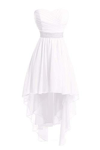 JAEDEN Ballkleider Damen Brautjungfernkleid Hochzeit Partykleid Herzausschnitt Abendkleid Vorne Kurz Hinten Lang Elfenbein EUR34