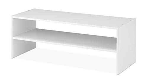 Whitmor Wood Stackable 2-Shelf Shoe Rack, 31 INCH, White